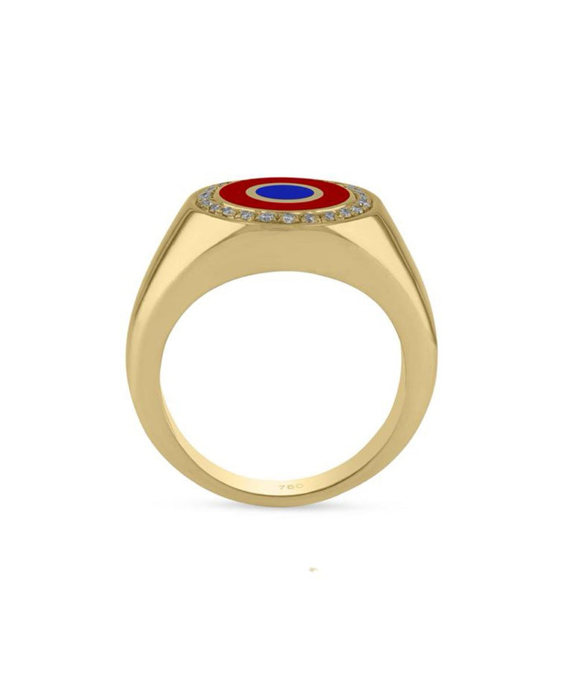 Round Crazy Eyes Ring - Red and Blue