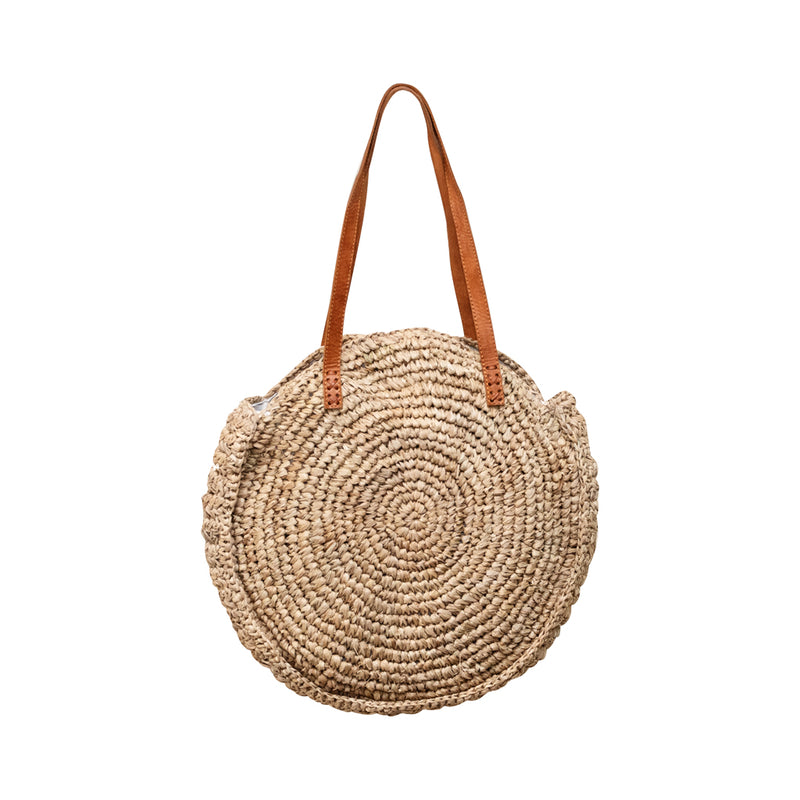 Round Woven Bag with Leather Handle