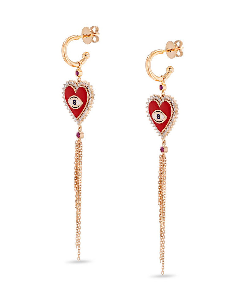 Ruby and Diamond Crazy Heart Earrings