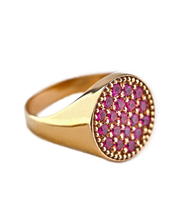 Ruby and Gold AristoCat Pinky Ring