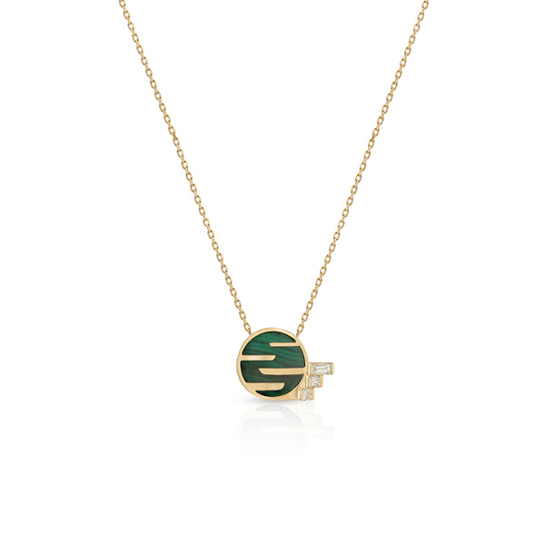 Sunset by The Ocean Diamond and Malachite Mini Necklace