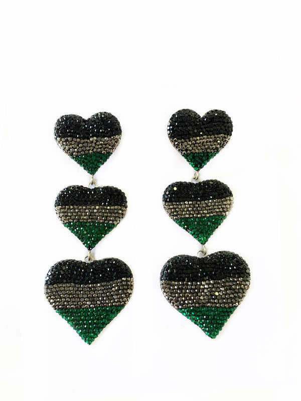 3 Hearts with Black, Green and Silver Crystals Earrings
