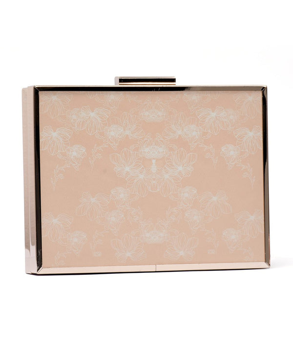 Bees & Flowers Clutch Bag in Gold Metal
