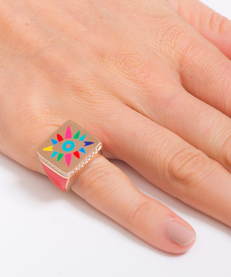 Square Crazy Eyes Ring - Multicolor