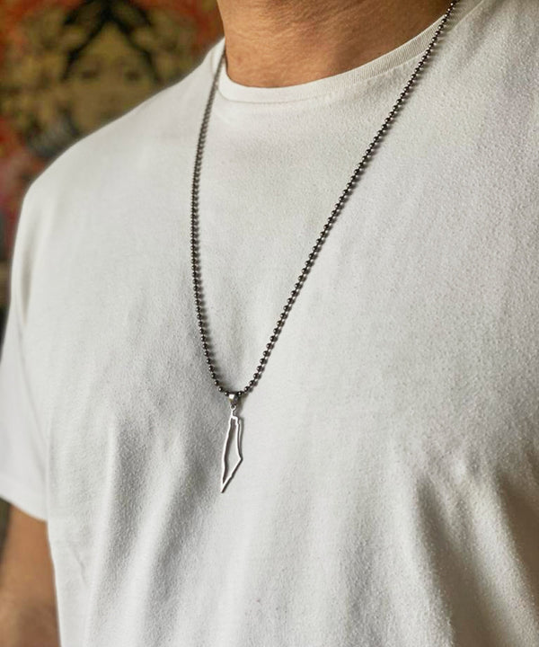 Palestine Men's Outline Map Necklace