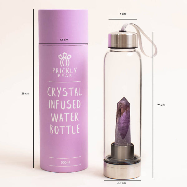 Natural Silver Stainless Steel Purple Amethyst Reusable Crystal Water Bottle