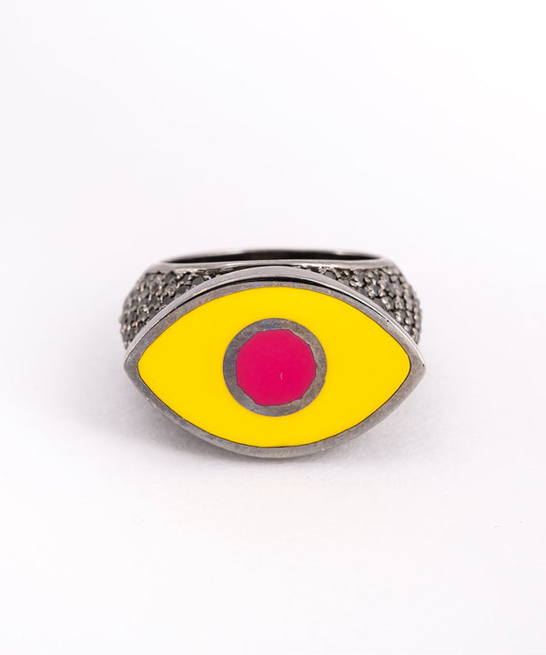 Yellow Crazy Eyes Ring