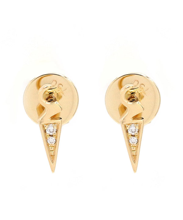'Alef' (Arabic A) Diamond Studs in 18k yellow gold