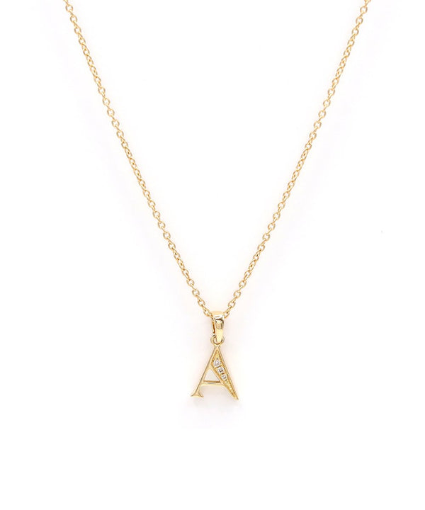 Alphabet 'A' Diamond Necklace in 18k yellow gold