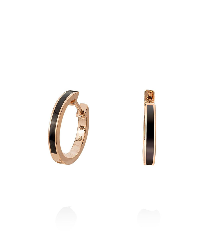 Amore Enamel Hoops in 18K Rose Gold
