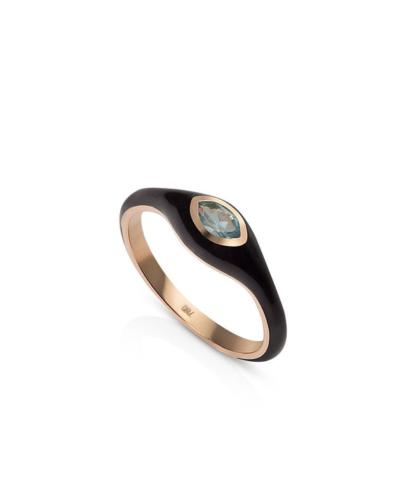 Astrid Ring - Black in 18K Rose Gold