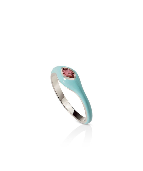 Astrid Ring - Blue in 18K White Gold