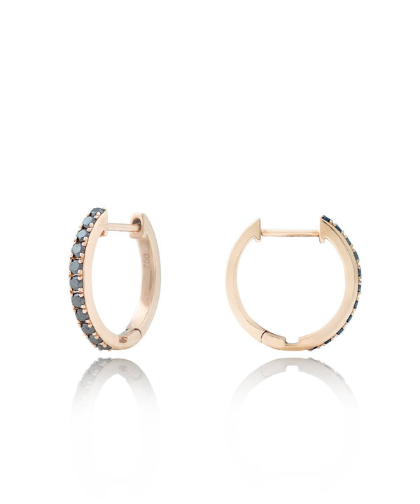 Black Diamond Hoops with Detachable Pearl Charms in 18K Rose Gold