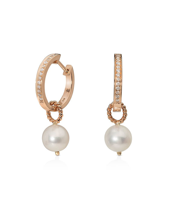Diamond Hoops with Detachable Pearl Charms