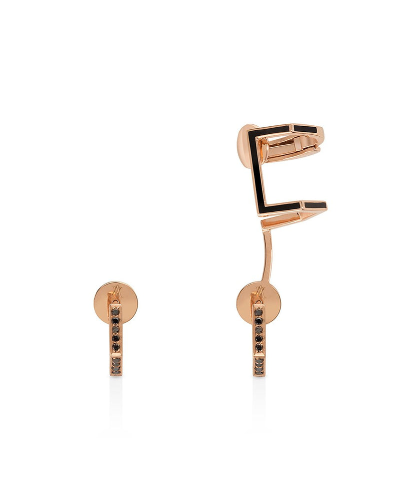 Eros Earrings with Ear Cuff in 18K Rose Gold and Black Diamonds