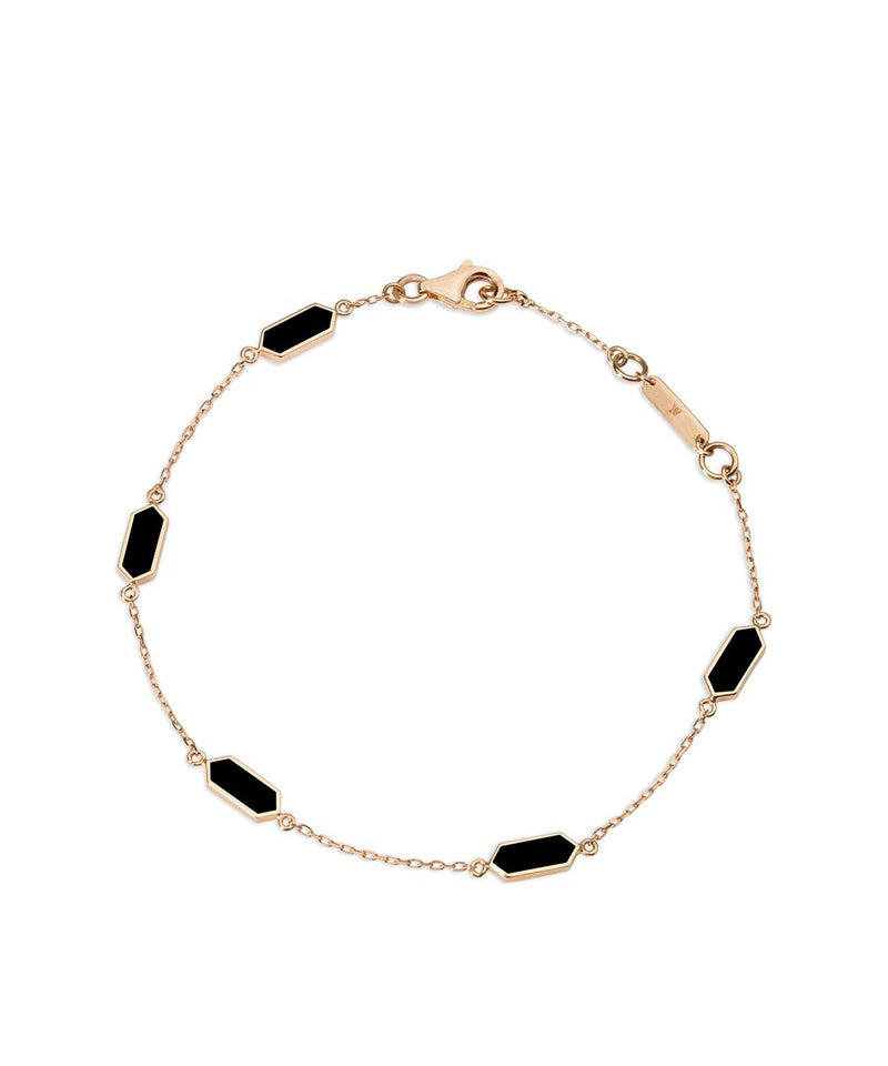 Gold and enamel Bracelet - Black in 18K Rose Gold