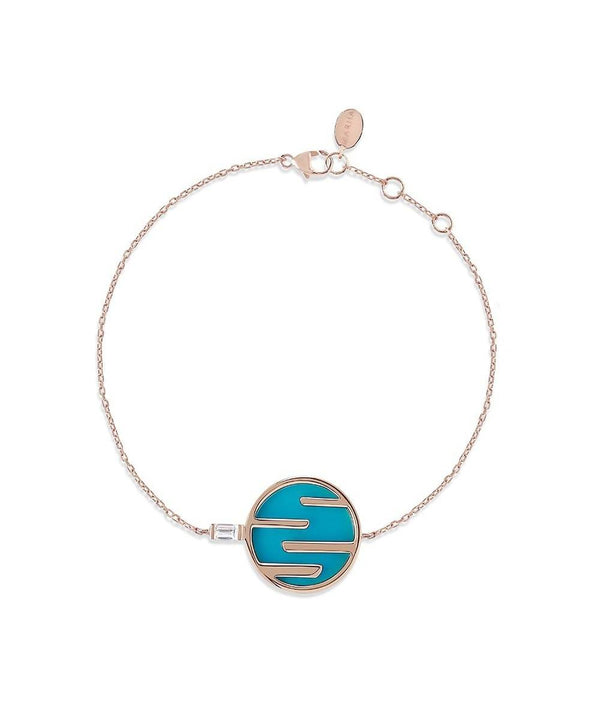 Sunset by The Ocean Diamond and Turquoise Chain Bracelet 18K Rose Gold