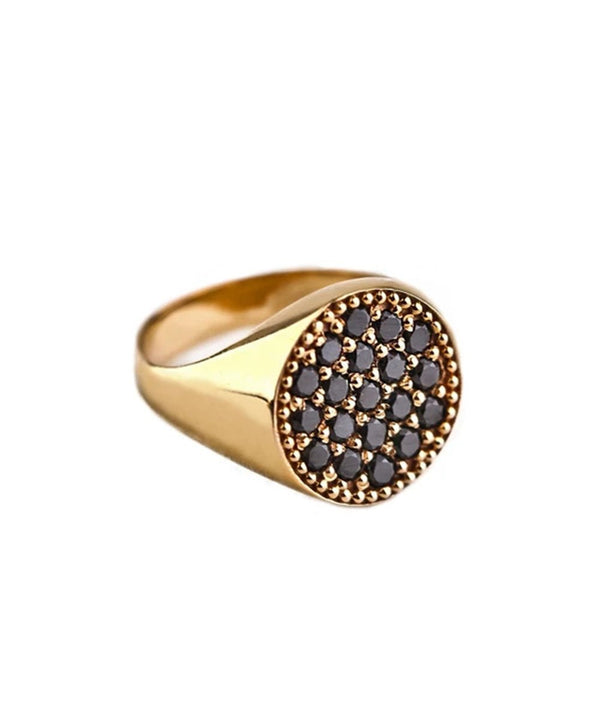 Black Diamond and Yellow Gold AristoCat Pinky Ring