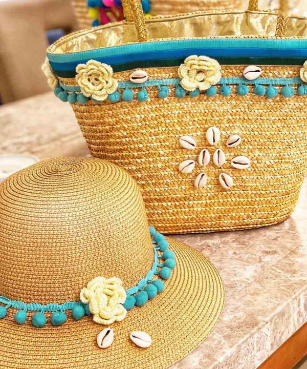 Crochet and Seashells Basket Bag and Straw Hat
