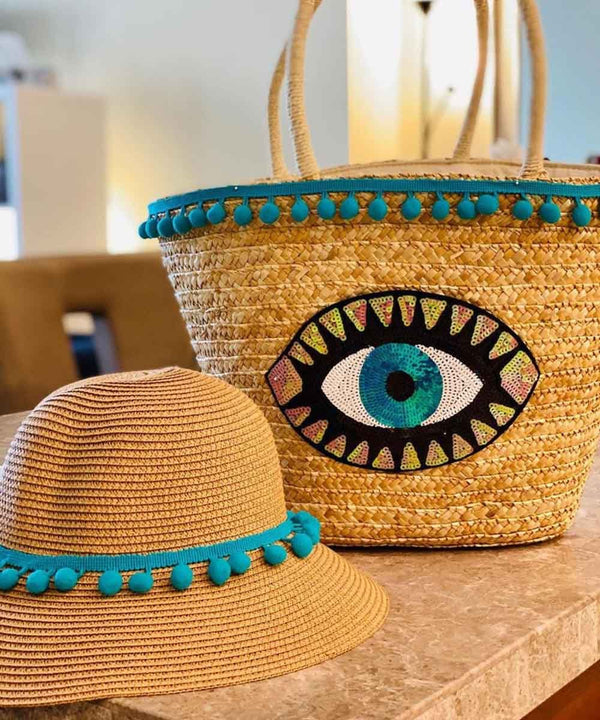 Evil Eye Basket Bag and Straw Hat