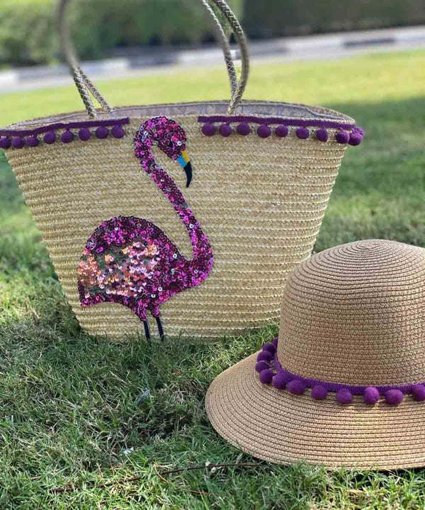 Golden Handle with Flamingo Sequince Basket Bag and Straw Hat