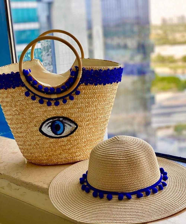 Royal Blue Lace with Eye Sequince Basket Bag and Straw Hat