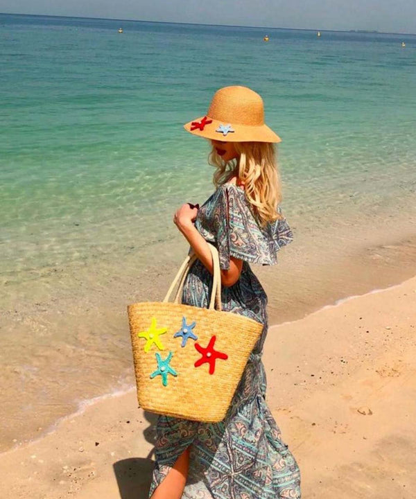 Starfish Crochet Basket Bag and Straw Hat