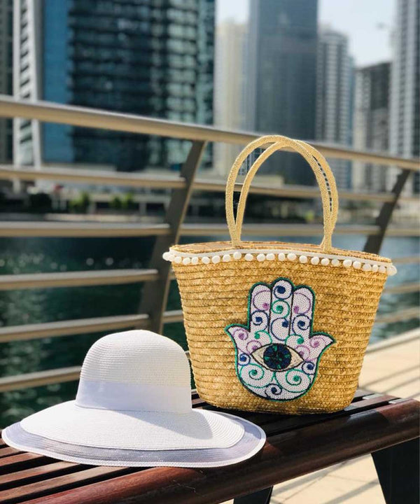 White Hamsa Basket Bag and Straw Hat