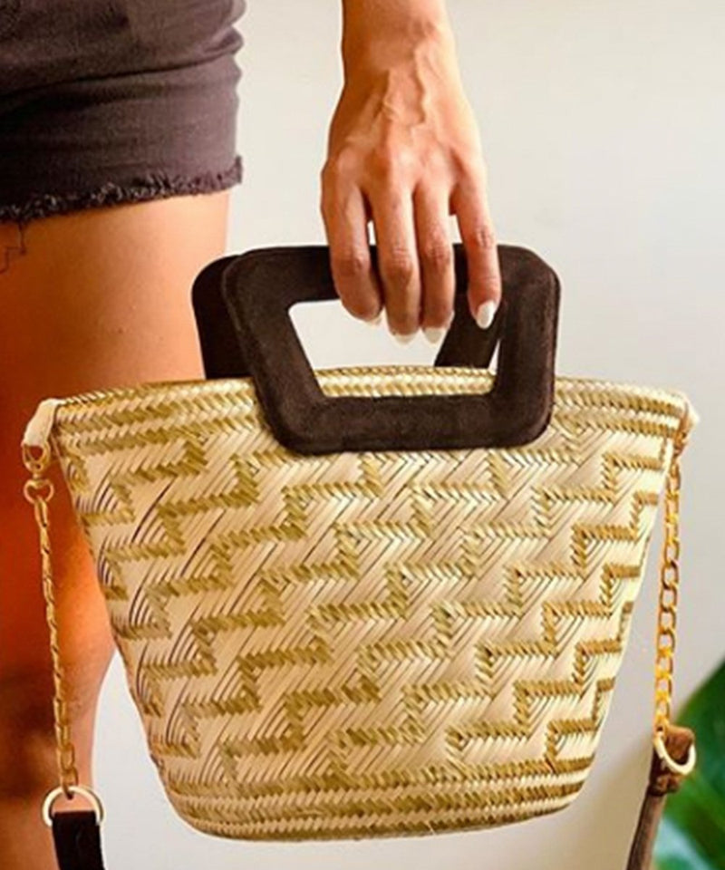 SUSU CHICA Straw Sholder Bag with Lining