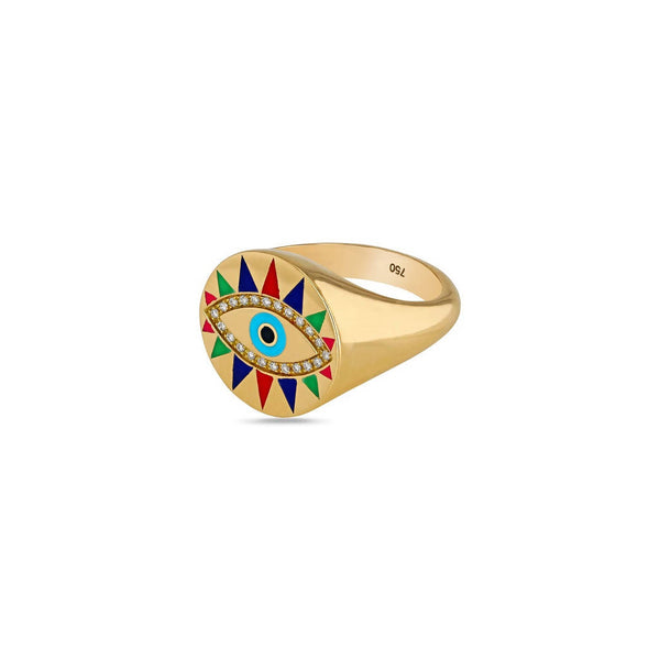 Crazy Eyes Multicolor Enamel Ring