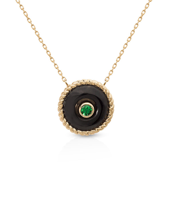 The Knot Necklace in Black Onyx Yellow Gold