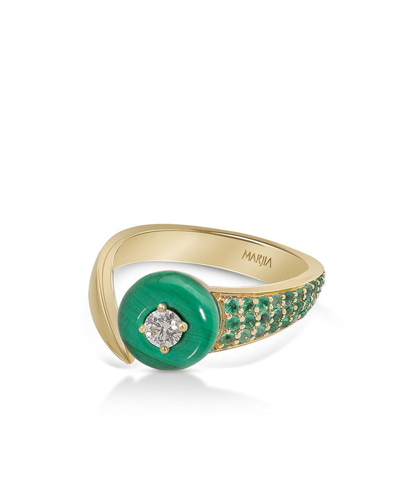Shooting Stars Ring In Malachite