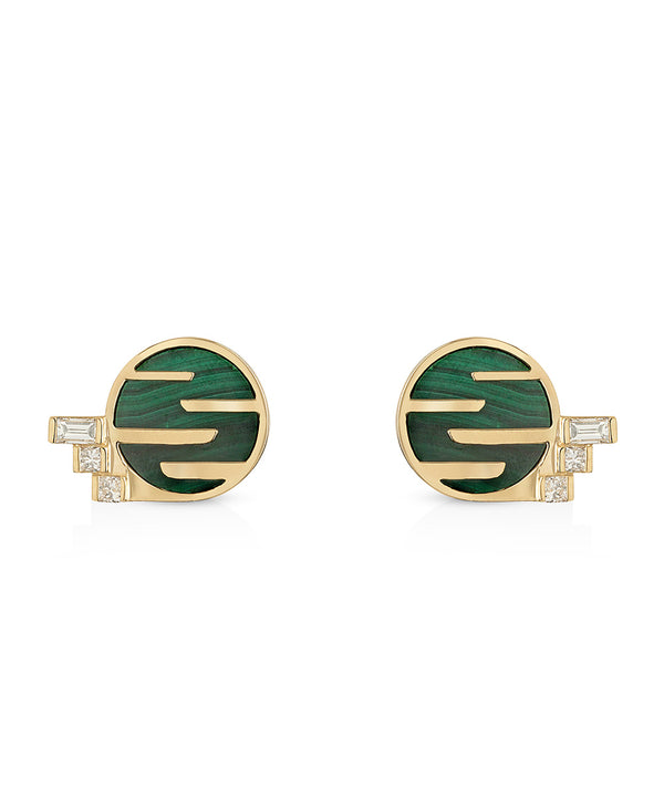 Sunset by The Ocean Malachite and Diamond Studs