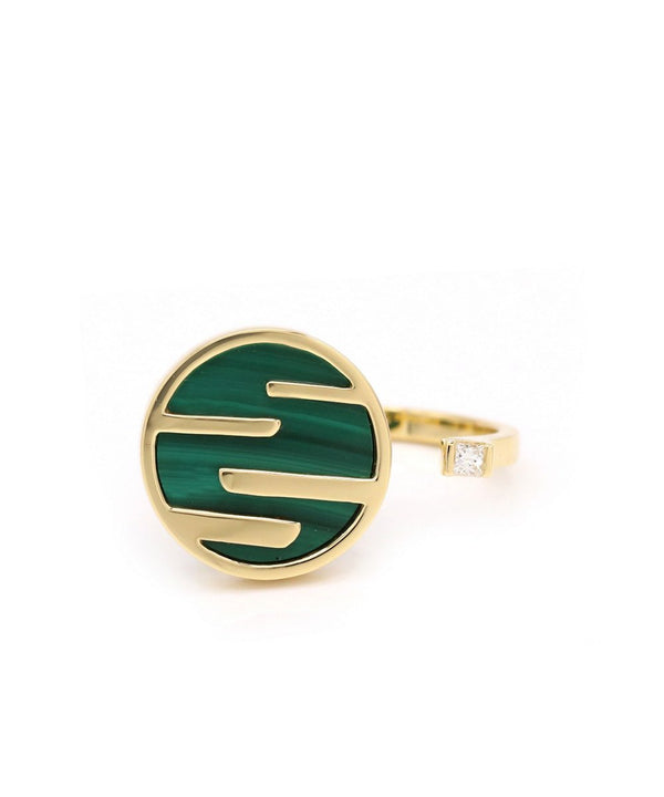 Sunset by The Ocean Ring 18k Yellow Gold and Malachite