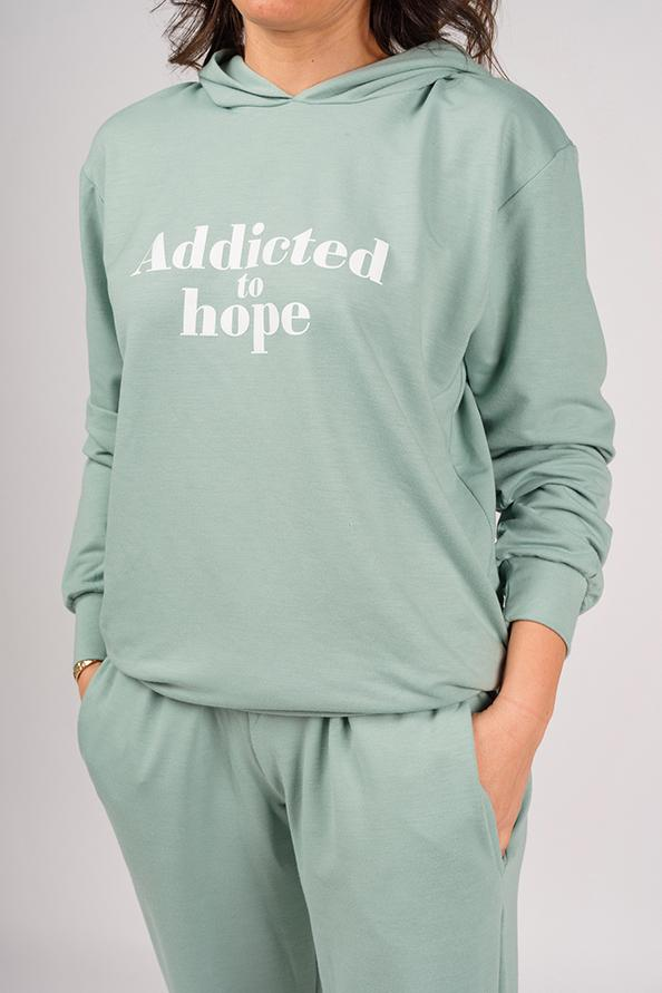 Addicted Green Sweatshirt and Pants Set