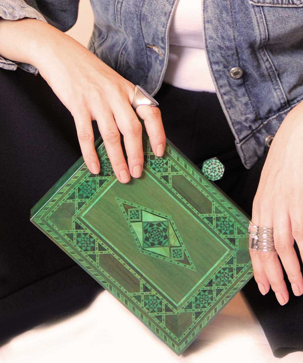 Marquetry Clutch - Green