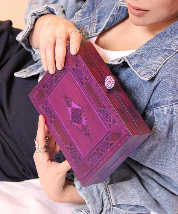 Marquetry Clutch - Purple