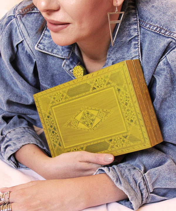 Marquetry Clutch - Yellow