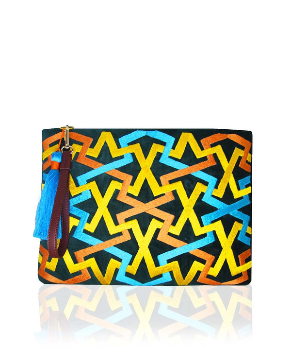 Zigzag Clutch - Forest Green
