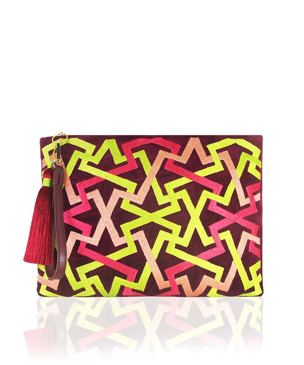Zigzag Clutch - Wine Red