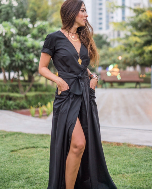 She Wolf Black Half Sleeves Wrap Dress