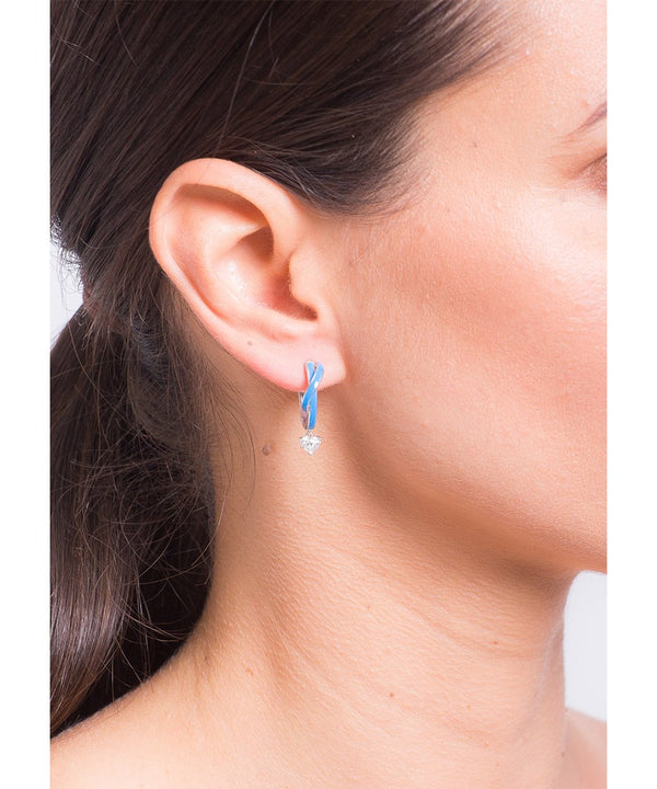 Blue Brilliant Heart Earrings