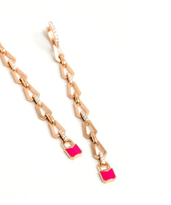 Pink Padlock Earrings