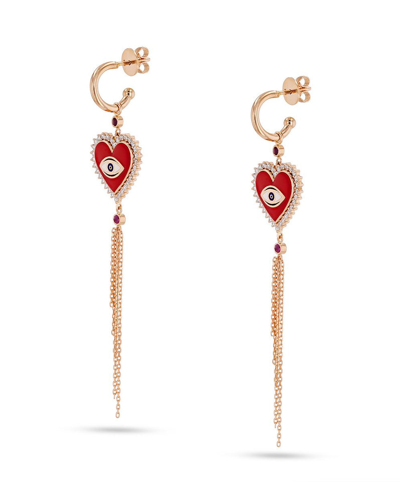 Red Crazy Heart Dangle Earrings