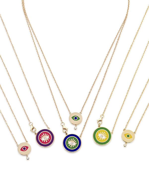 Two Way Crazy Eyes Yellow Green Necklace