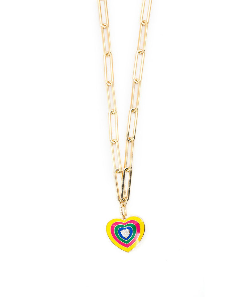 Yellow Gold Happy Heart Choker - Yellow and Pink