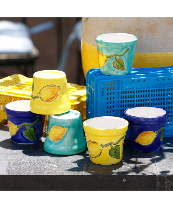 Coffee Cups - Blue with Lemon