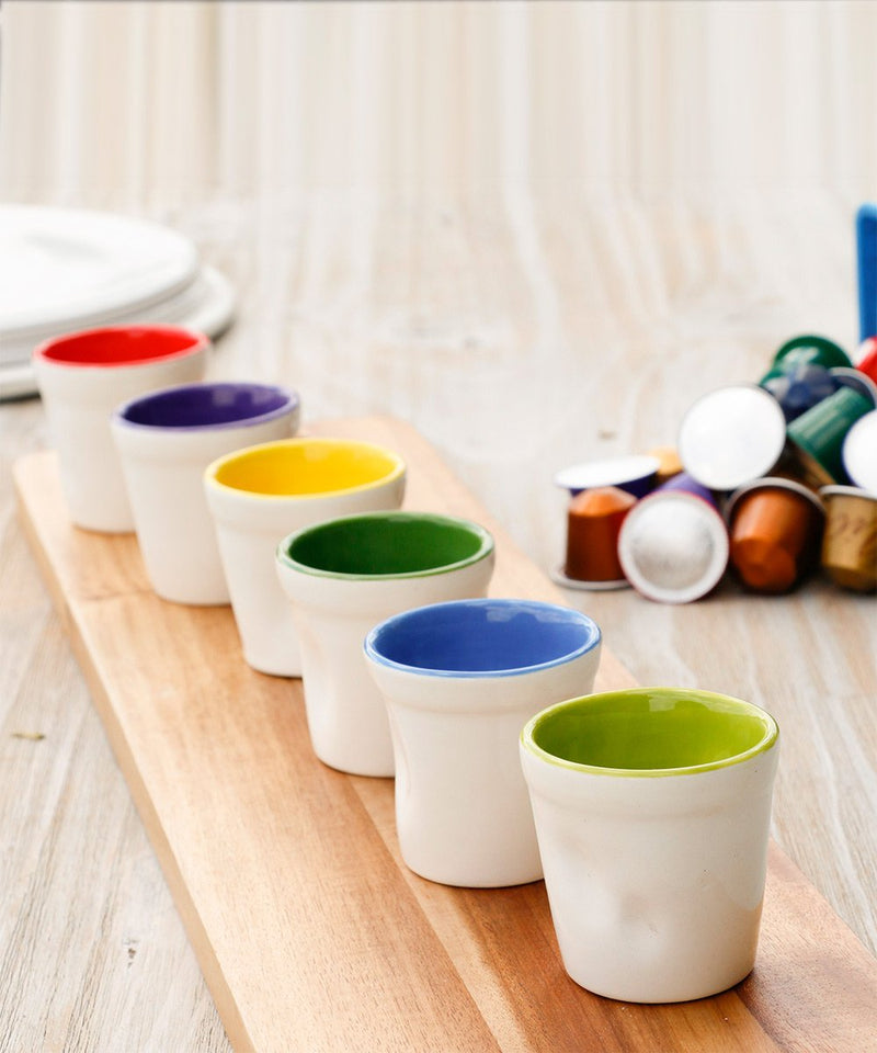 White and Colored Coffee Cups