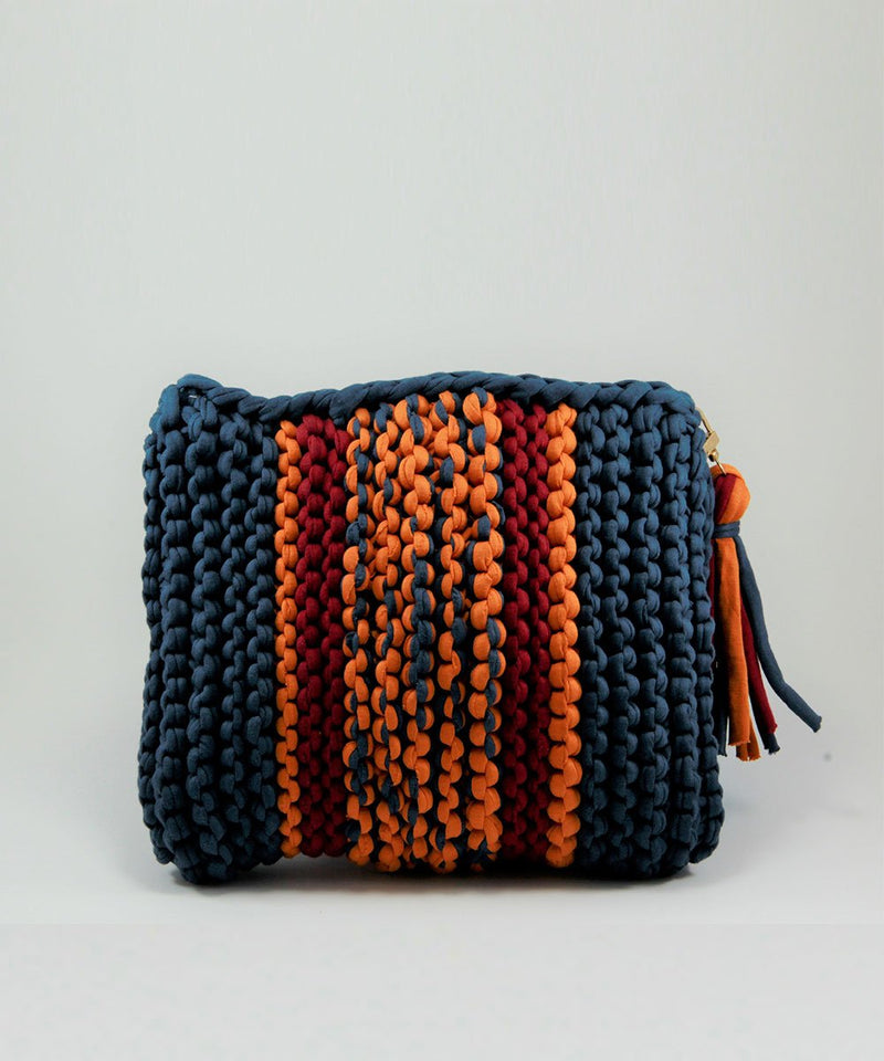 Hand Made Crochet Clutch - Navy and Orange