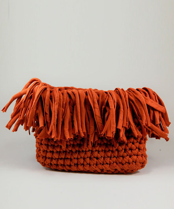 Orange Crochet Clutch